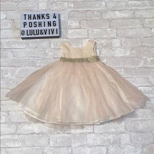 BLUEBERI BLVD Cream Rhinestone & Glitter Dress